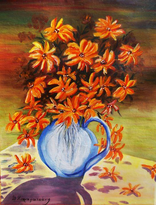 Golden flowers - Vivi Karakatsani Art