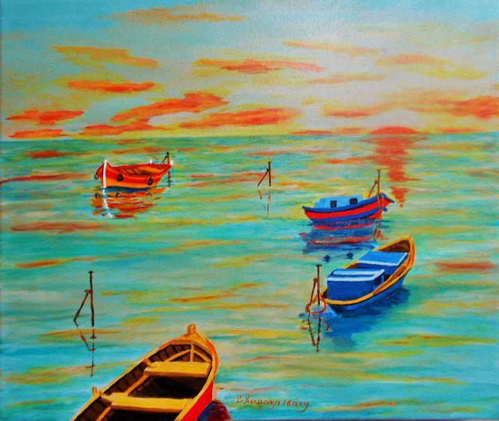 Sunset in Hydra - Vivi Karakatsani Art