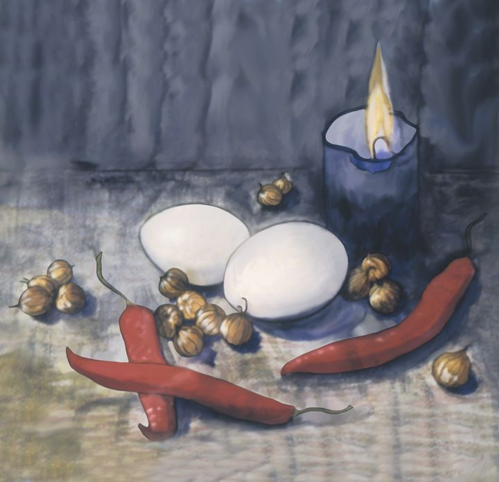 Eggs, hot red peppers, a blue candle - Christina Rahm Art