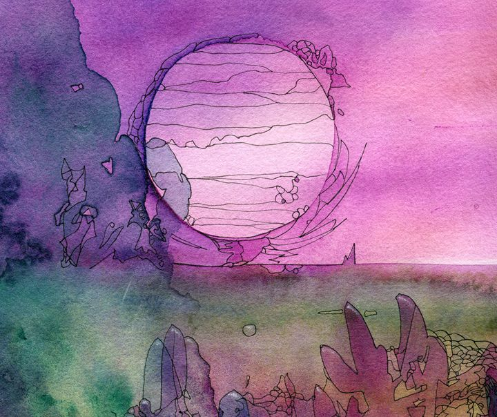 Abstract painted original watercolor - Christina Rahm Art