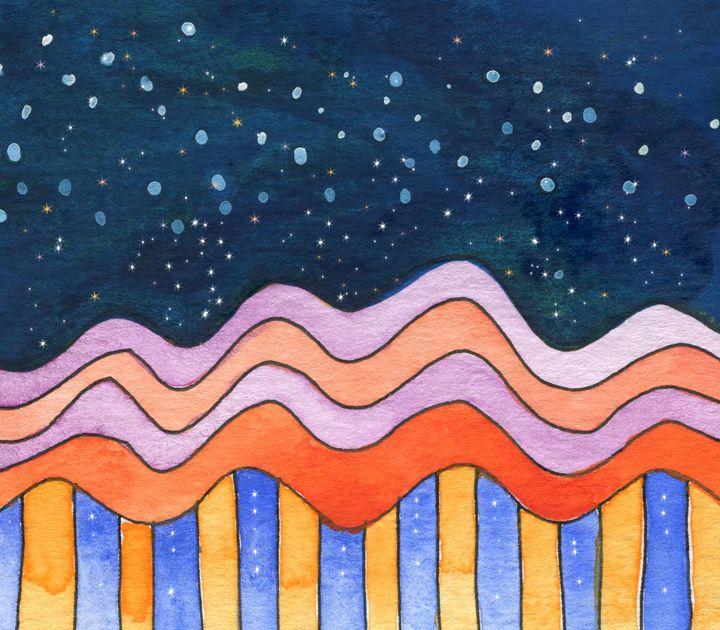 Winter City Skyline - Christina Rahm Art