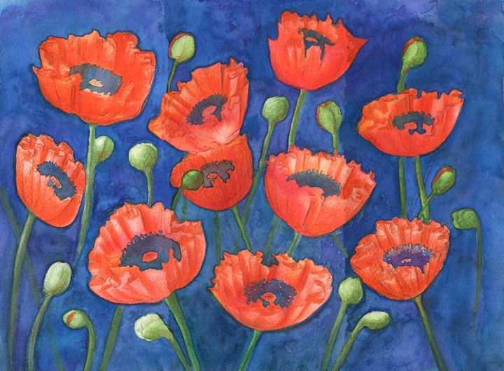 Red poppies and green buds on blue, - Christina Rahm Art