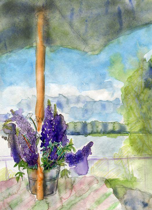 Lupines and umbrella - Christina Rahm Art