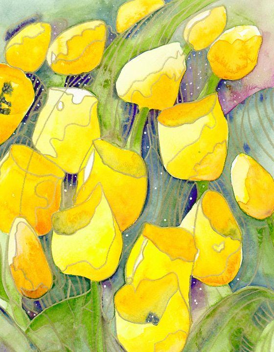 Yellow tulips and starry skies - Christina Rahm Art