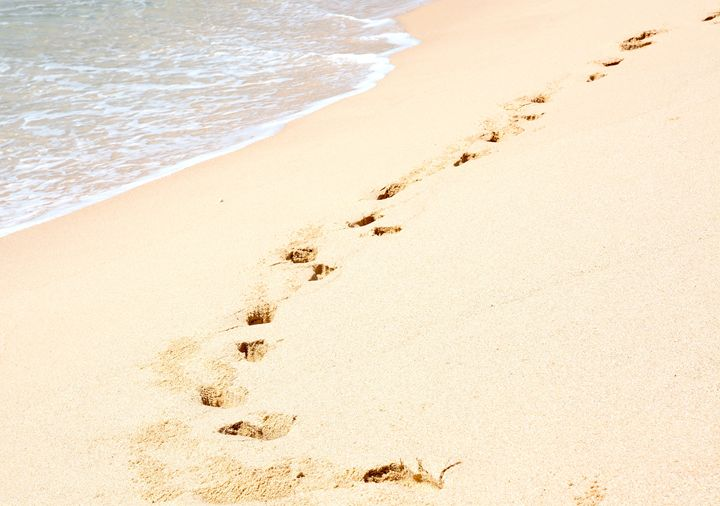Tropical beach with footprints - Christina Rahm Art