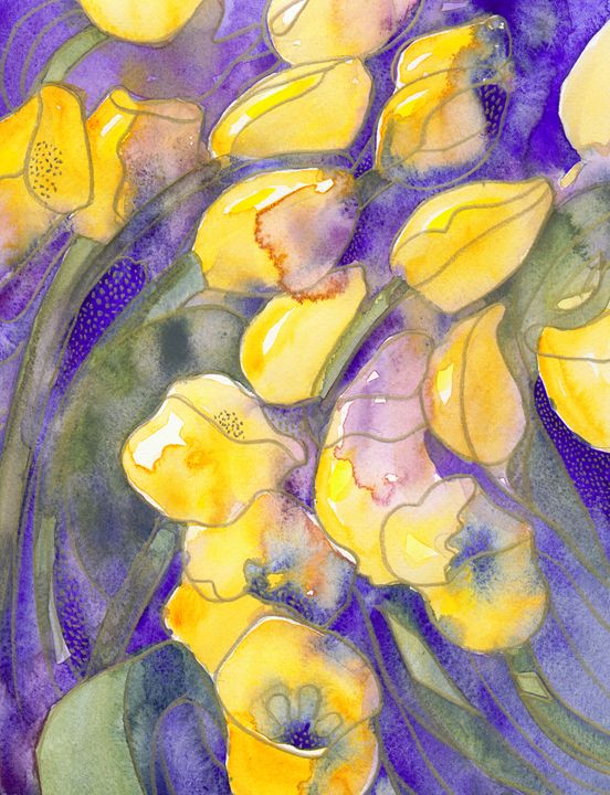 Yellow tulips on purple - Christina Rahm Art