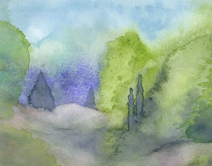 Watercolor landscape with junipers. - Christina Rahm Art