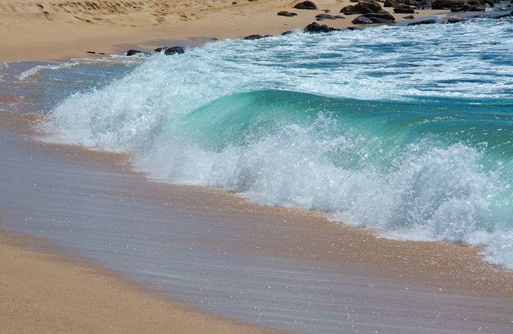 Green wave whith white seafoam - Christina Rahm Art