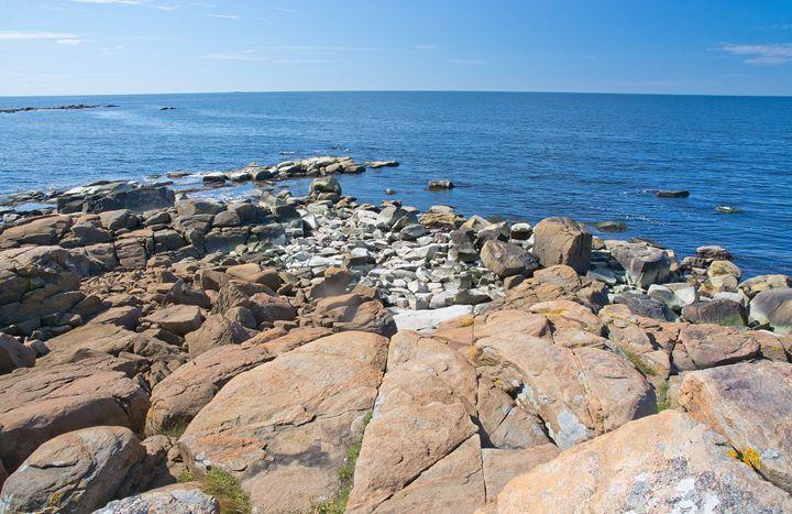 Rocky sandy beach landscape - Christina Rahm Art