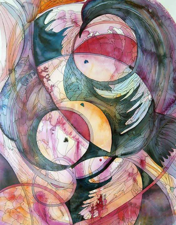 Century gap - abstract watercolor an - Christina Rahm Art