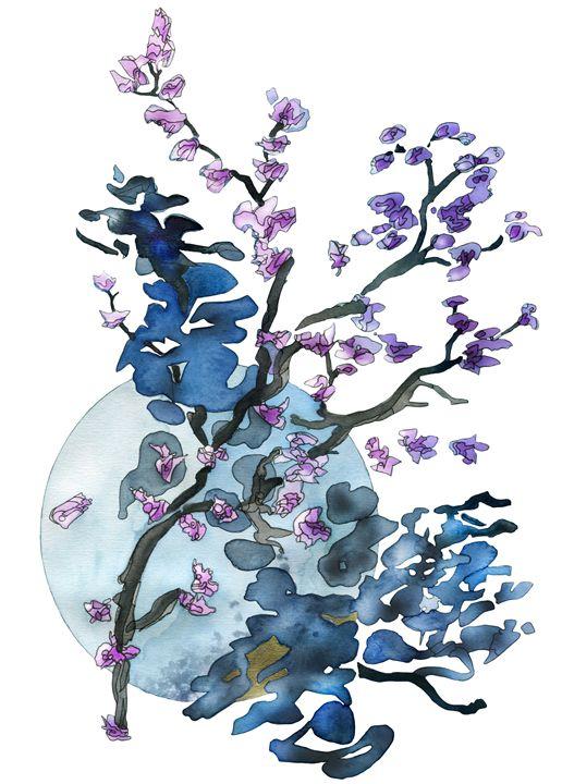 Flower twigs and blue moon - Christina Rahm Art