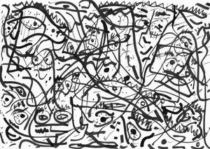 Faces lost in moving lines
