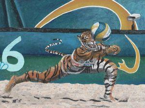 Cat Warrior Playing Beach Volleyball
