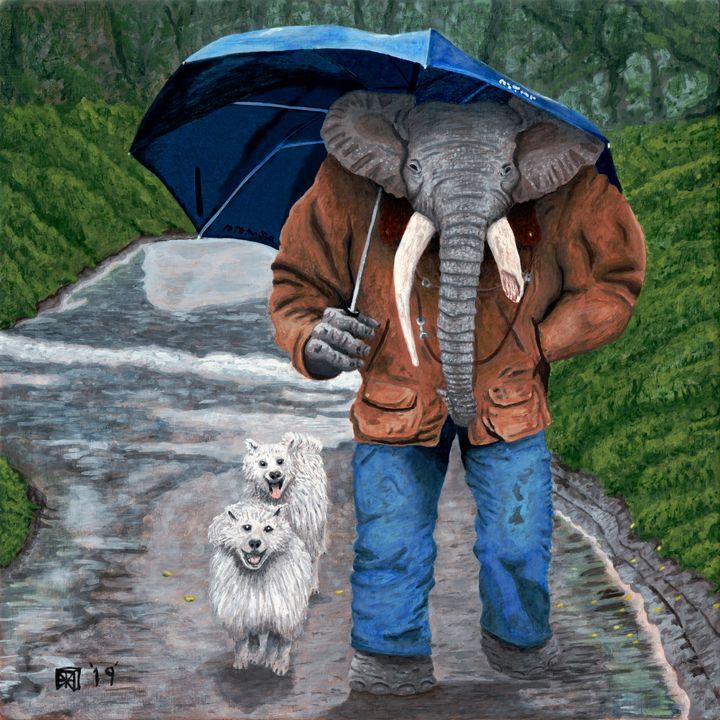 Elephant Man Walking Dogs - Helms Art Creations