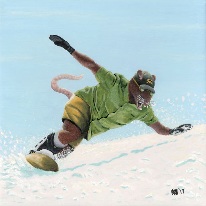 Wererat Snowboarder Extreme Sports - Helms Art Creations