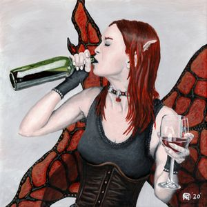 Magical Fairy Drinking Wine