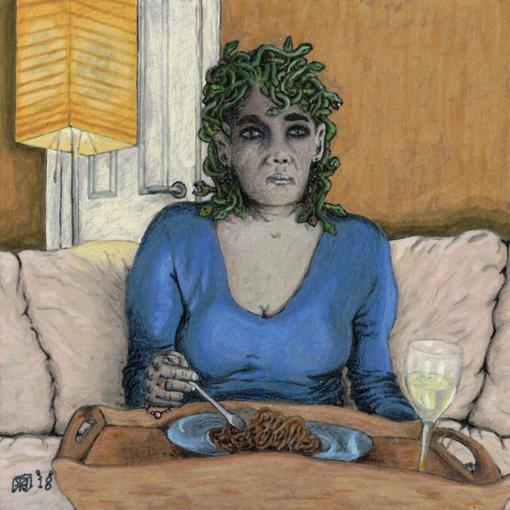 Medusa Eating Dinner Alone - Helms Art Creations
