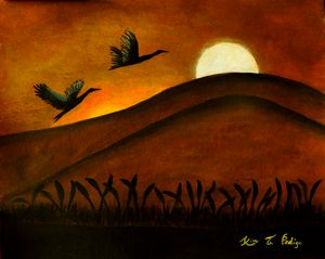 Night Moon and Flying Birds