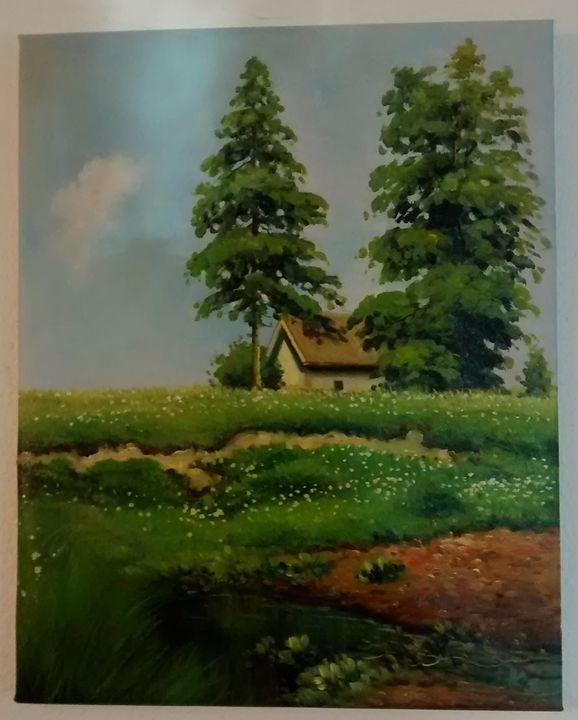 Small Hut in a Meadow (Oil Replica) - Replicas