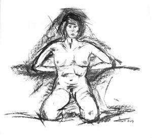 Nu accroupi (kneeling nude)