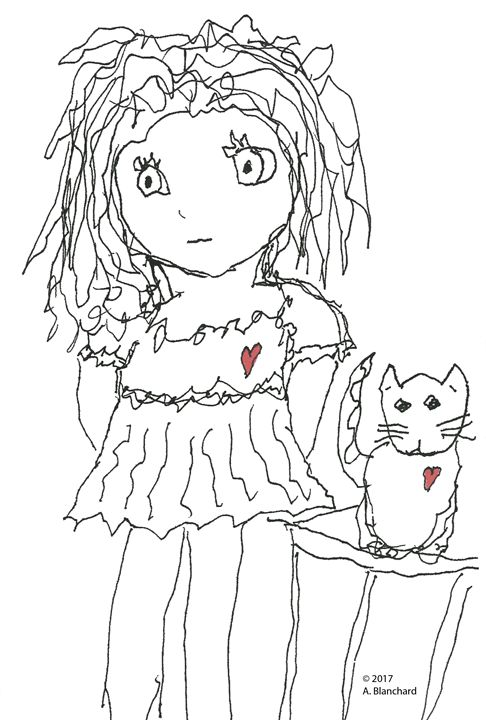 Small girl with kitty - A Blanchard Creations