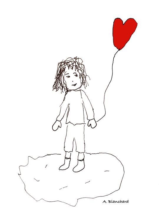Girl with red balloon - A Blanchard Creations