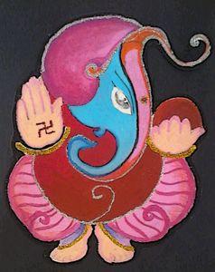 Original Modern Ganesh Oil Pastel Ar