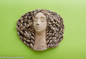 Ceramic wall decoration goddess face - RamunesCeramic