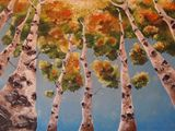 Colorful Birch Oil painting 12x16