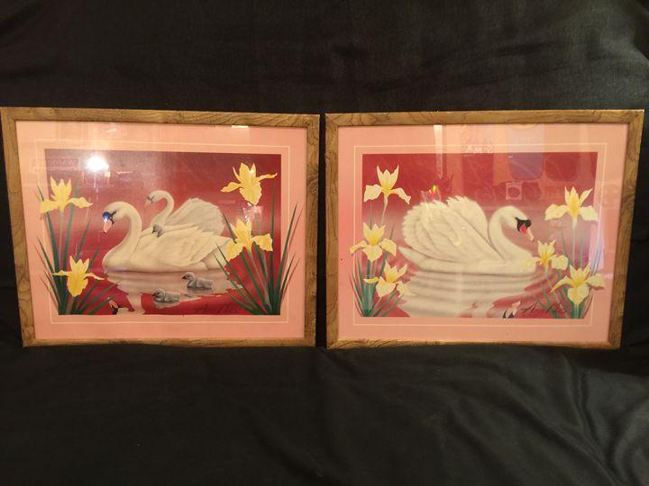 Swans in Red Lake - Blue Dragon Art