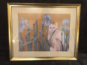 White Cat Among Blue Irises