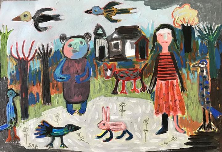 """#1557 """"Among Friends with Bear"""" - Painted Visions"""