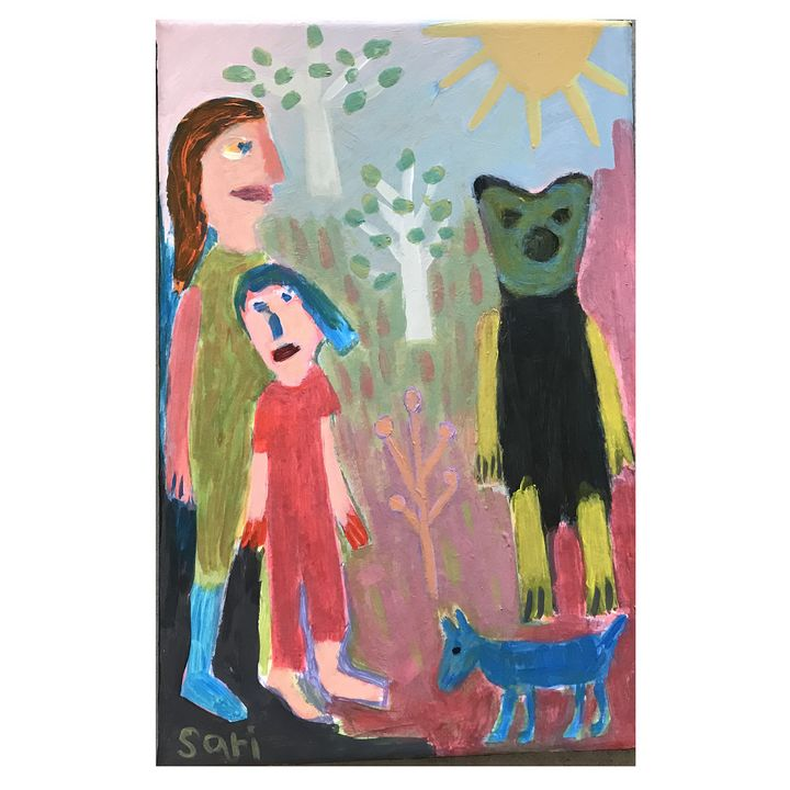 """#1609 """"Bear and Blue Dog"""" - Painted Visions"""