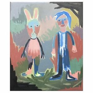 "#1632 ""Girl and Rabbit"" - Painted Visions"