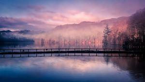 Mist rising from Loch Faskally