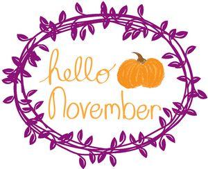 Hello November with Purple Wreath