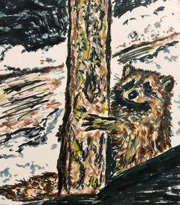 Racoon Holding Tree