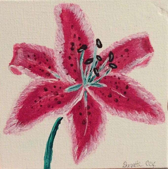 Simple Pink Lily - LeahLevinArt