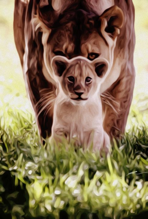 Lioness and cub - Alina