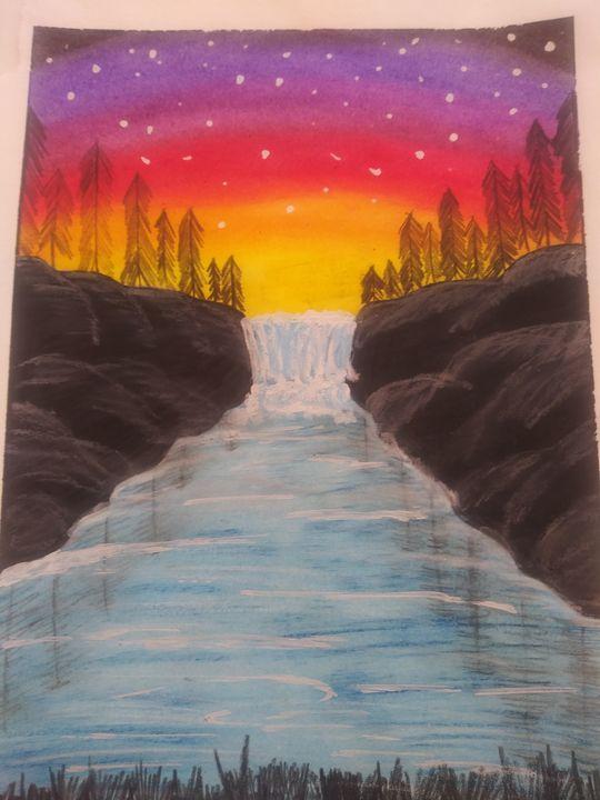 Waterfall sunset - Cassiopea's Art