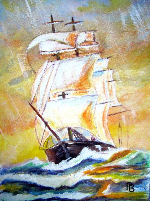 Sunset Sailing Ship. - Beckett's Art Page