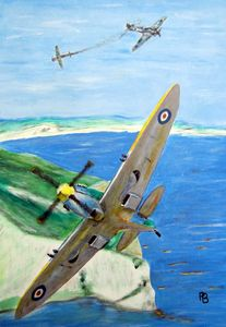 Spitfire over white cliffs of Dover.