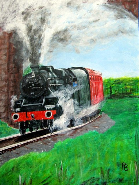 Steam train under viaduct. - Beckett's Art Page