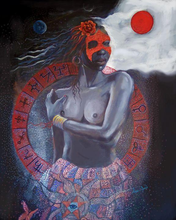 She came in silken drapes - Akan David Art