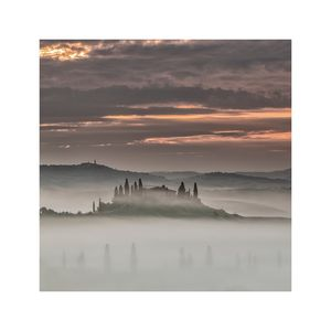 Rising mist on The Belvedere,Tuscany
