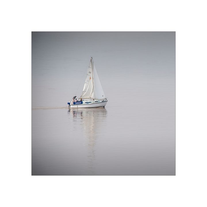Lone Yacht on Foggy a River Severn - jennialexander