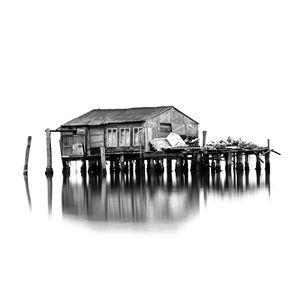 Capanna di pesca abbandonata