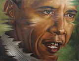 100cm X75cm Portrait of Barack Obama