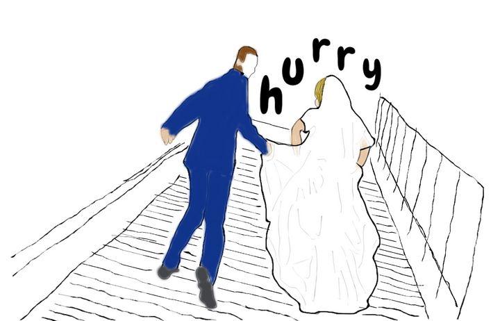 groom Bride wedding - sketches