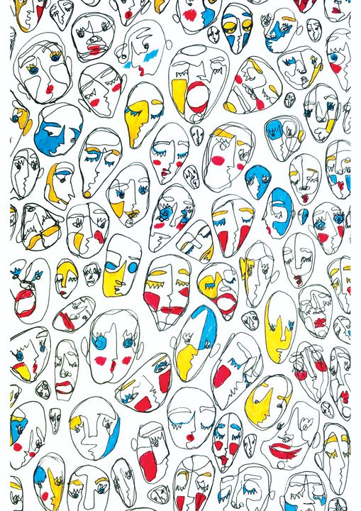 Faces in Red, Blue and Yellow - Alex Majagranzas